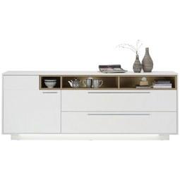 Sideboard in Weiß/Eichefarben - Edelstahlfarben/Eichefarben, MODERN, Holzwerkstoff/Metall (215/84/42cm) - Premium Living