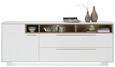 Sideboard Weiß Lack - Edelstahlfarben/Weiß, MODERN, Holzwerkstoff/Metall (215/84/42cm) - Premium Living
