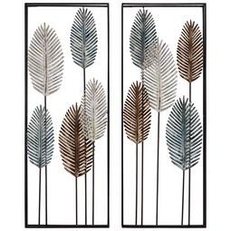 Wanddeko Leave aus Eisen - Blau/Schwarz, Metall (34/34/5/5/91/91cm) - Mömax modern living