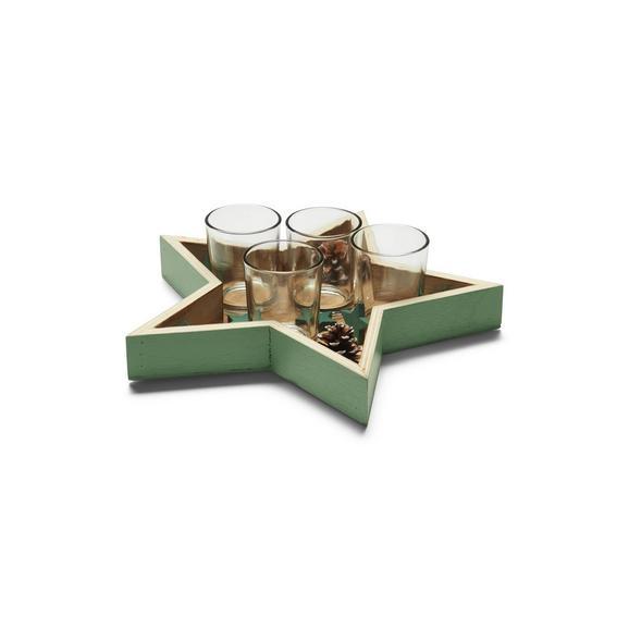 Svečnik Za Čajno Svečko Elen - svetlo zelena, steklo/leseni material (27,5/26,5cm) - Mömax modern living