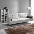 Sofa Chris mit Schlaffunktion inkl. Kissen - Chromfarben/Naturfarben, MODERN, Holz/Textil (203/85/90/110cm) - Modern Living