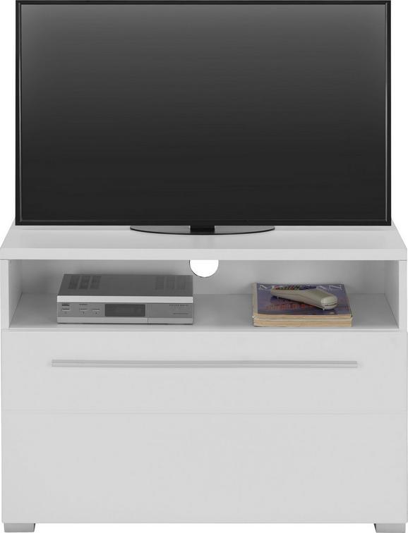 TV-Element Weiß matt - Chromfarben/Weiß, MODERN, Holzwerkstoff/Kunststoff (80/57/40cm) - Modern Living