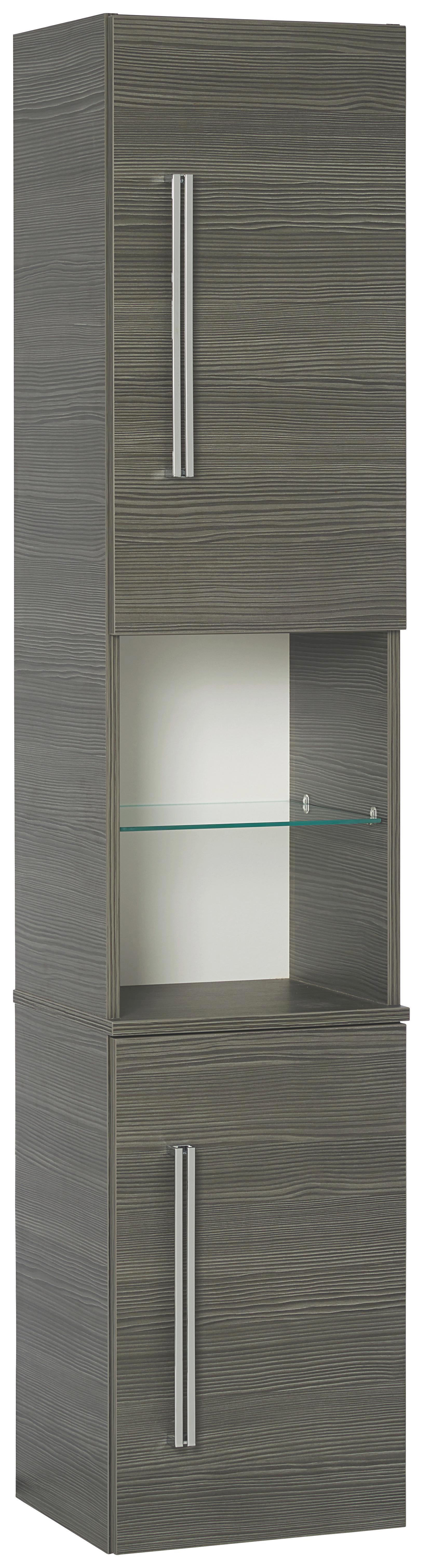 Hochschrank in Mooreichefarben - Chromfarben/Mooreichefarben, MODERN, Glas/Holzwerkstoff (35,5/169/32cm) - PREMIUM LIVING