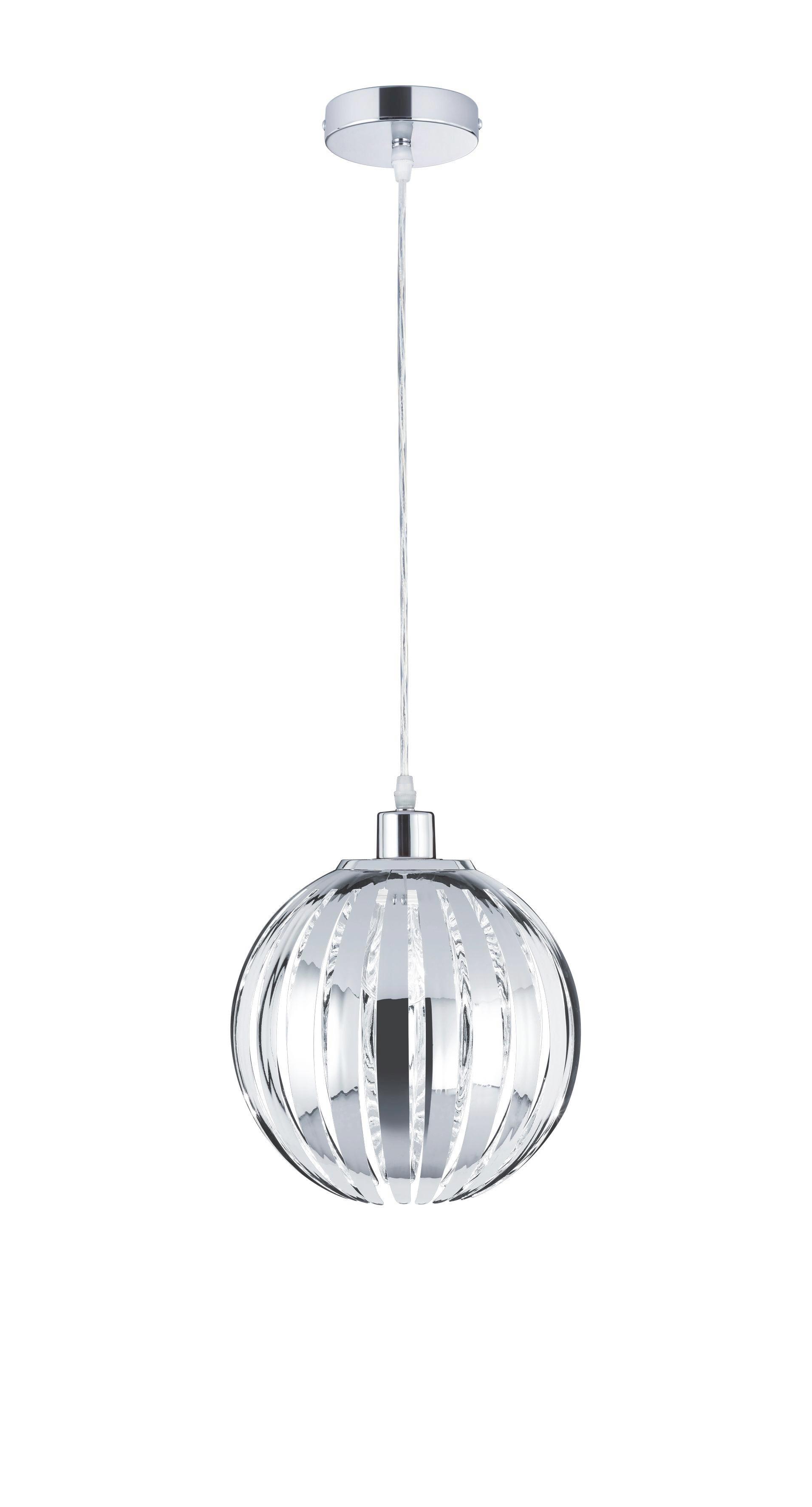 Függőlámpa Emma - krómszínű, modern, műanyag (25cm)
