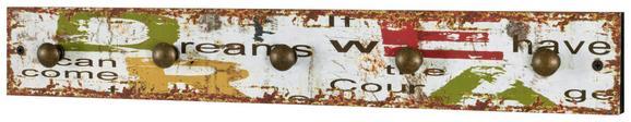 Stenski Obešalnik Dream 5 - rdeča/rumena, Moderno, kovina/leseni material (57/8/5cm)