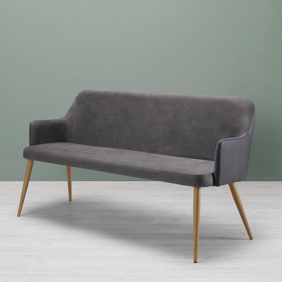 Sitzbank Chrisi - Dunkelgrau, MODERN, Textil/Metall (150/84/54cm) - Bessagi Home
