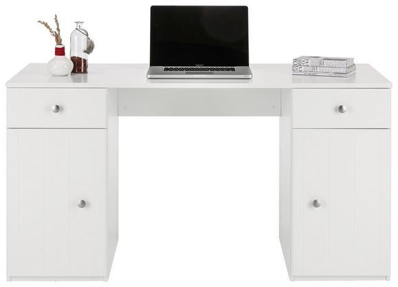 Schreibtisch in Weiß - Weiß/Grau, ROMANTIK / LANDHAUS, Holzwerkstoff/Metall (140/75/60cm) - PREMIUM LIVING