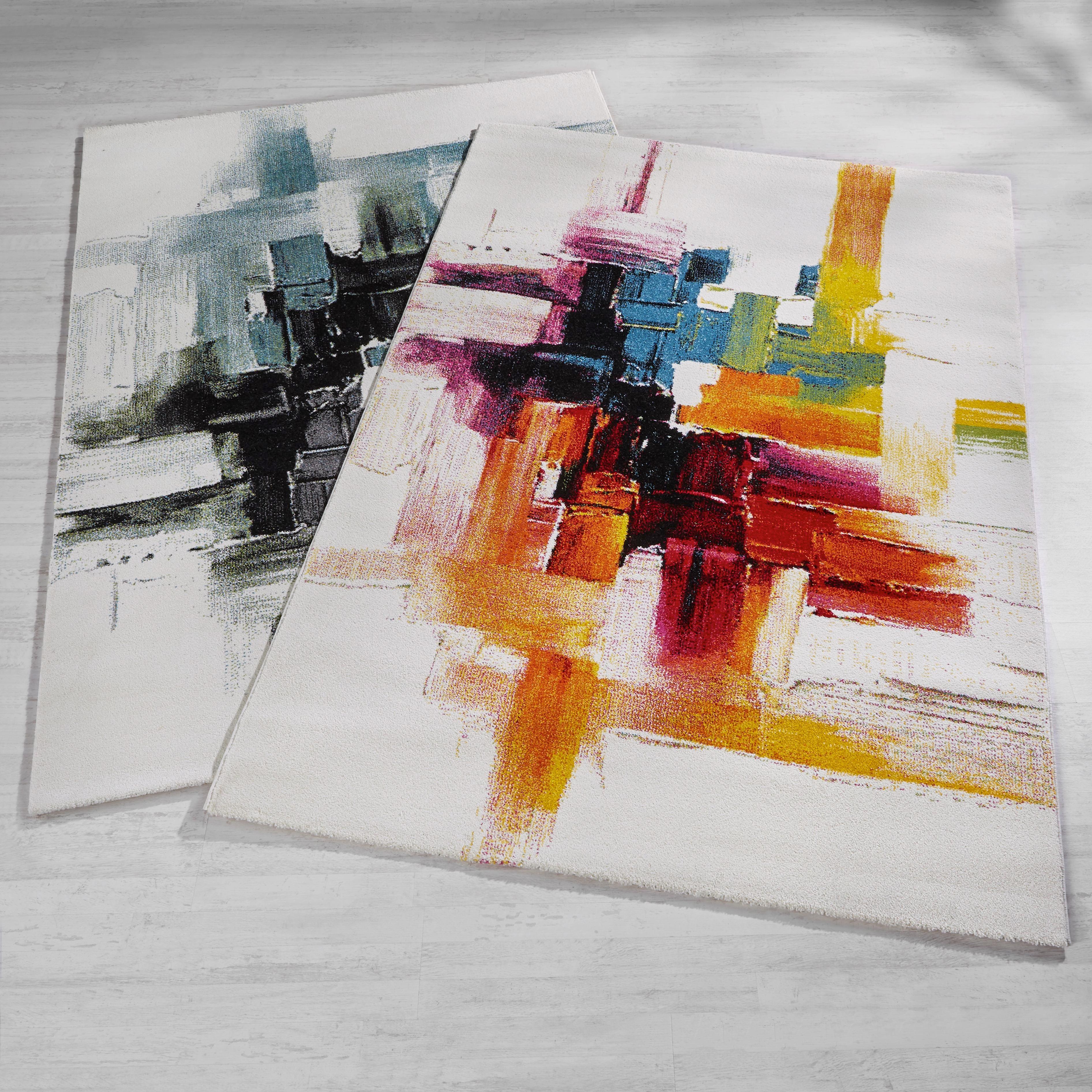 Webteppich abstract ca. 160x230cm - Blau/Schwarz, LIFESTYLE, Textil (160/230cm) - MÖMAX modern living