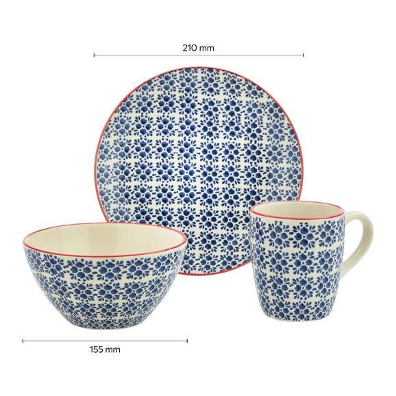 Frühstücksset aus Keramik 3-teilig ''Mosaico'' - Blau, Keramik - Bessagi Home