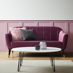 Sofa Florentina - Beere/Goldfarben, MODERN (170/84/73cm) - Modern Living