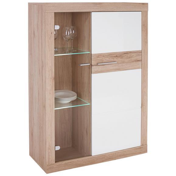 Vitrină Malta - alb/culoare lemn stejar, Modern, plastic/sticlă (96/132/35cm)