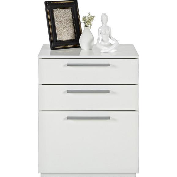 Nachtkästchen in Weiß Hochglanz - Alufarben/Weiß, MODERN, Holzwerkstoff/Metall (50/60/41cm) - Modern Living