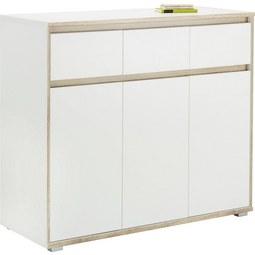 Sideboard in Weiß/Sonoma Eiche - Silberfarben/Weiß, MODERN, Holzwerkstoff (118/103/48cm) - Mömax modern living