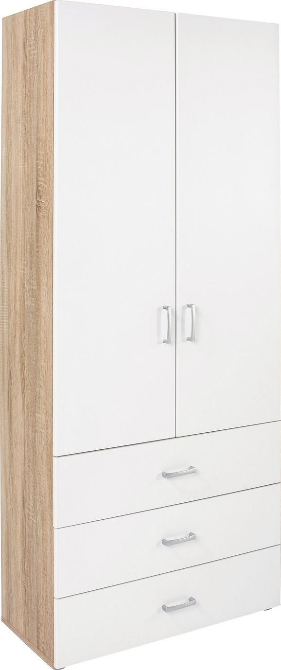 Szekrény Tio - Tölgyfa/Fehér, modern, Faalapú anyag (80/183/37,5cm)
