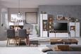 Tv-element Alamo - bela/hrast, Moderno, kovina/leseni material (160/54/47cm) - Modern Living