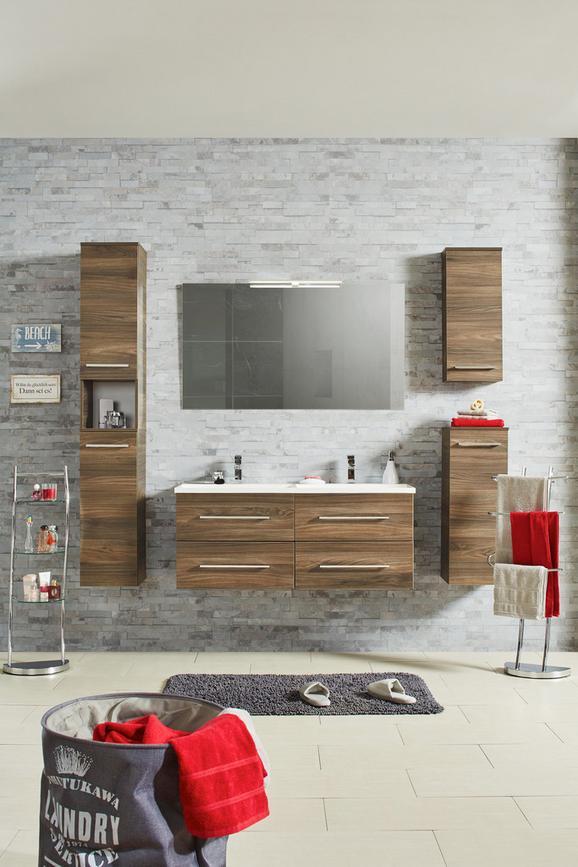 Oberschrank Walnussfarben - Chromfarben/Walnussfarben, MODERN, Glas/Holzwerkstoff (31/71/16cm) - Premium Living