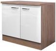 Spülenunterschrank Weiß Hochglanz/Eiche - Edelstahlfarben/Eichefarben, MODERN, Holzwerkstoff/Metall (100/86/60cm)