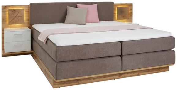 Bettanlage Weiß/Eichefarben 180x200cm - Taupe/Eichefarben, ROMANTIK / LANDHAUS, Holzwerkstoff/Textil (202/290/103cm) - Premium Living