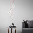 Pendelleuchte Sophie 5-flammig - Silberfarben/Weiß, MODERN, Metall (25/150cm) - Bessagi Home