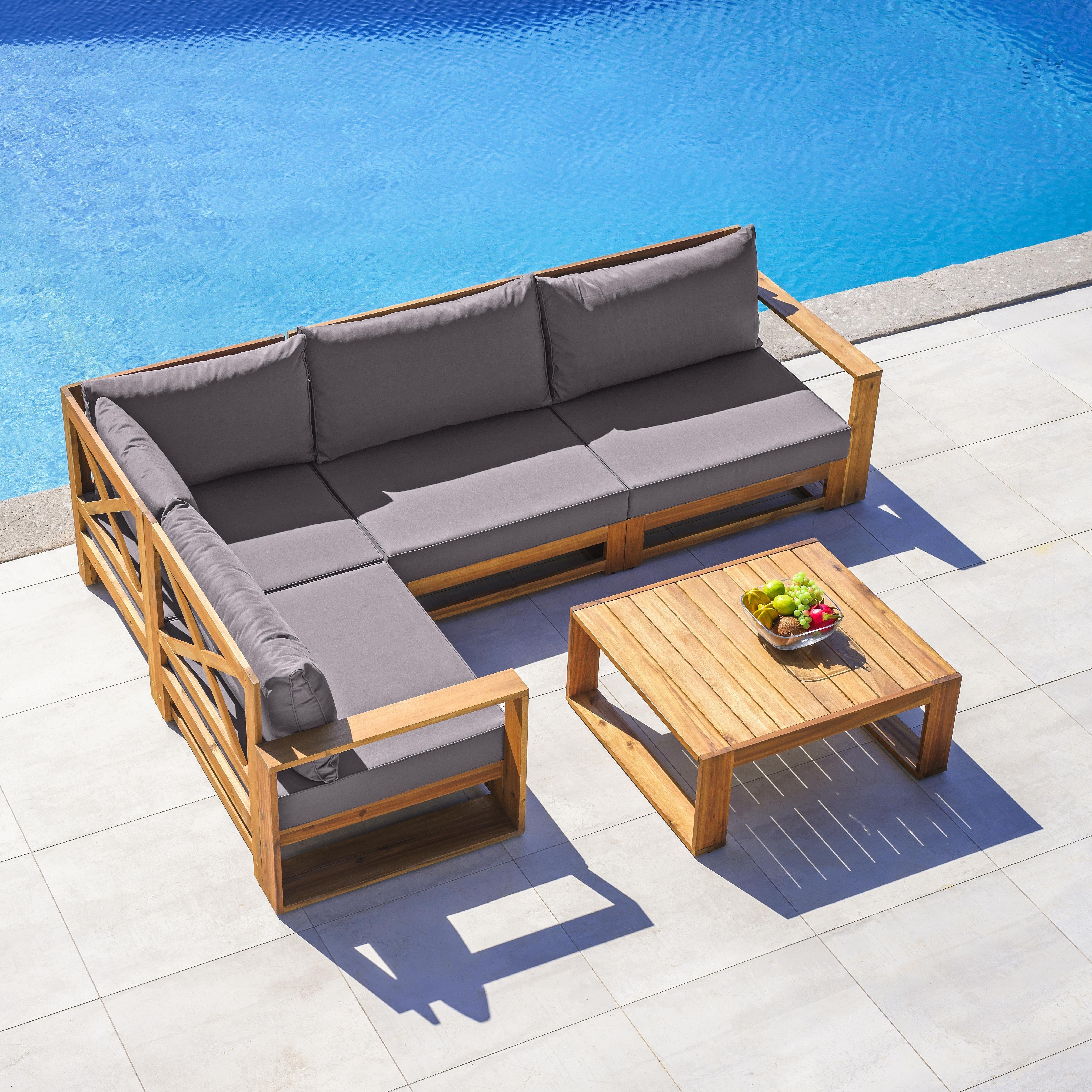Loungegarnitur Kerry Aus Akazienholz 11-teilig - Dunkelgrau/Akaziefarben, MODERN, Holz/Textil - Modern Living