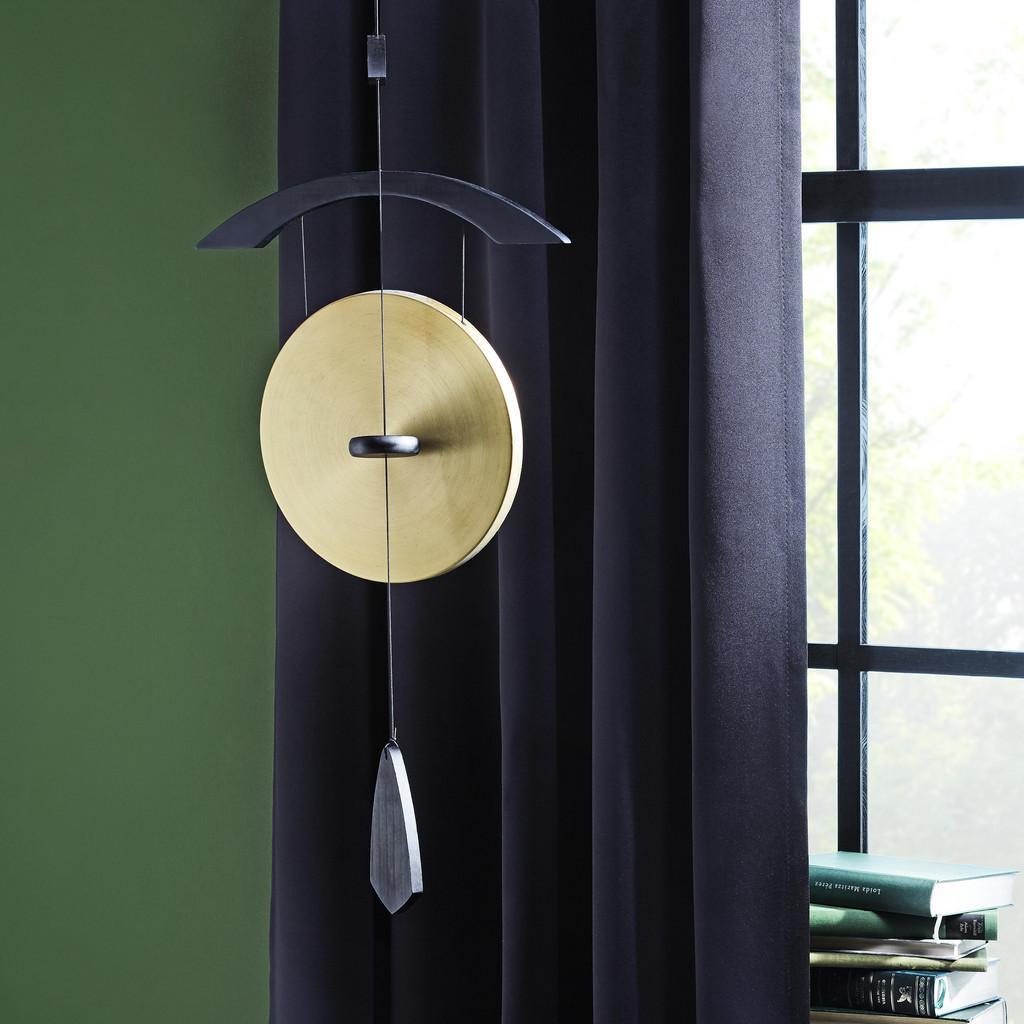 Windspiel Gong in Schwarz/Messingfarben | Garten > Dekoration > Windspiele | MÖMAX