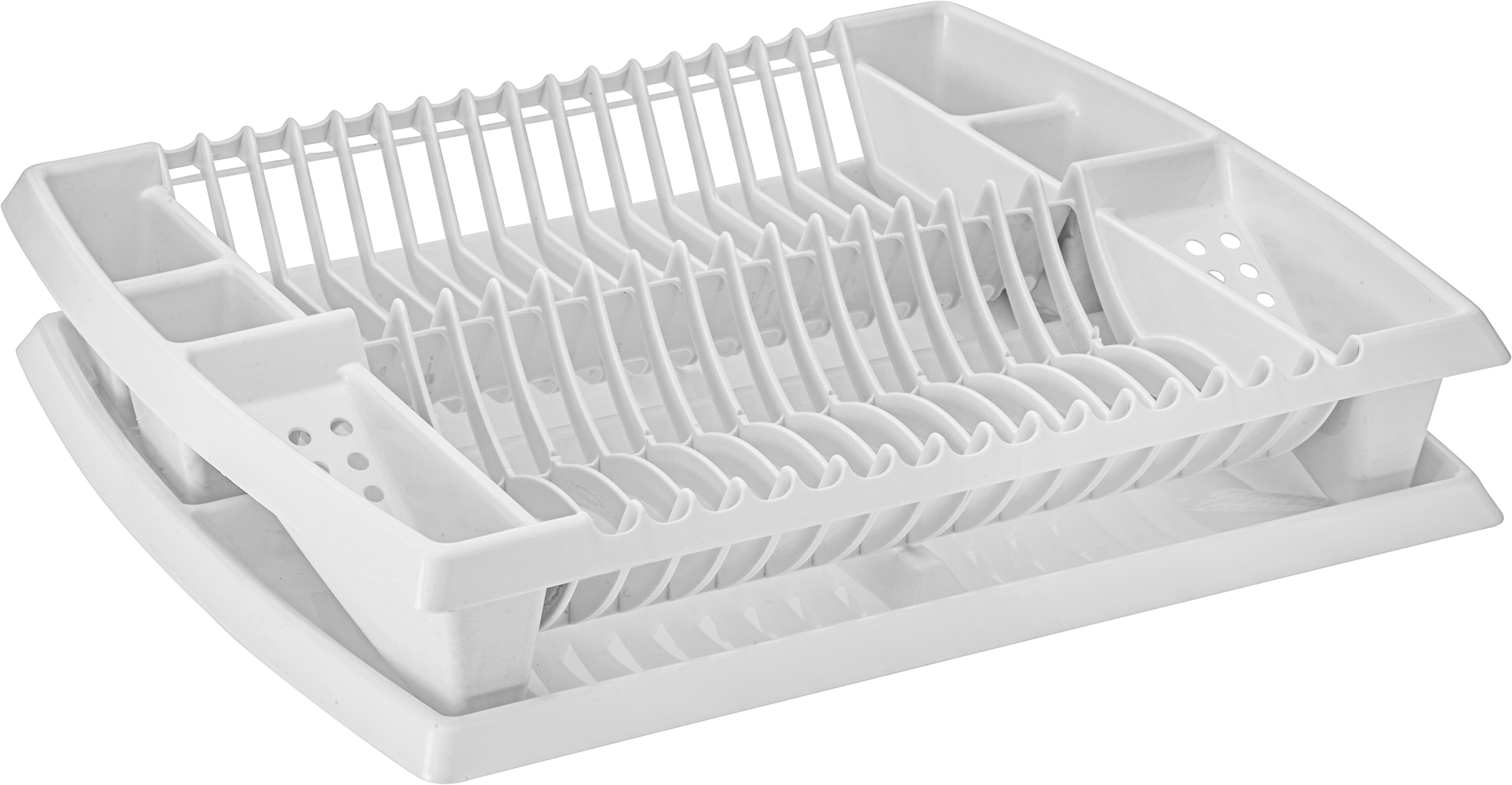 Edényszárító Kosár Tálcával - fehér, műanyag (44,2/8,5/38,3cm) - MÖMAX modern living