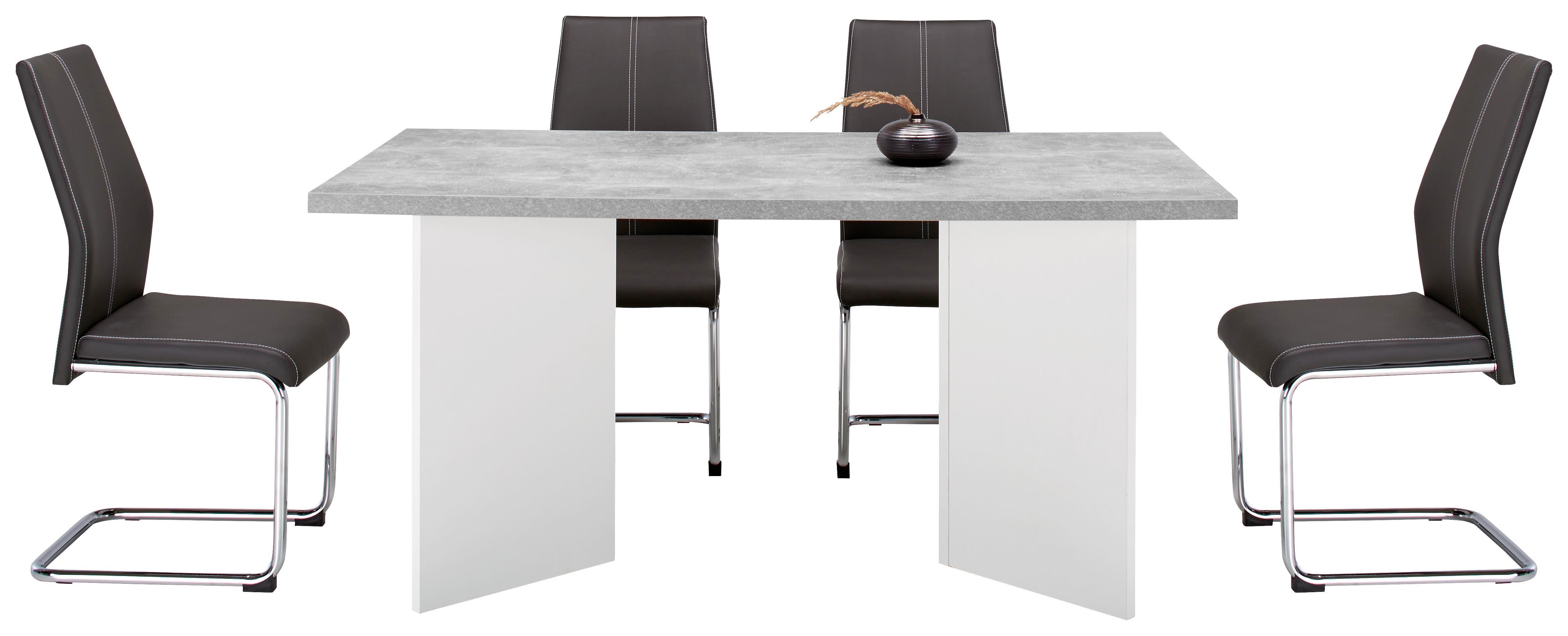 Schwingstuhl in Grau - Chromfarben/Weiß, Textil/Metall (44/96/57cm) - MÖMAX modern living