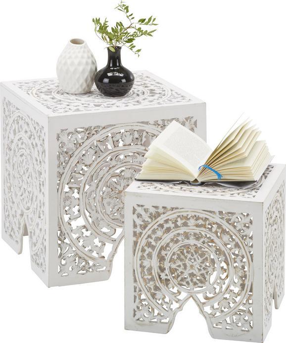 Beistelltischset Weiß, 2er Set - Holzwerkstoff (40/40/40cm) - Zandiara