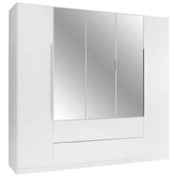 Kleiderschrank in Weiß inkl. Spiegel - Alufarben, KONVENTIONELL, Holzwerkstoff/Kunststoff (226/210/54cm) - Modern Living