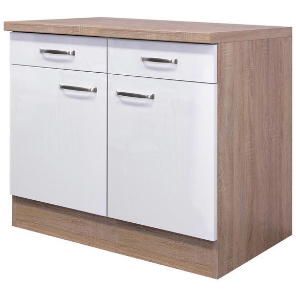 Küchenunterschrank Weiß Hochglanz/Eiche - Edelstahlfarben/Eichefarben, MODERN, Holzwerkstoff/Metall (100/86/60cm) - FlexWell.ai