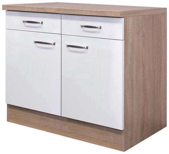 Küchenunterschrank Weiß Hochglanz/Eiche - Edelstahlfarben/Eichefarben, MODERN, Holzwerkstoff/Metall (100/86/60cm)