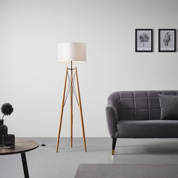 Stehleuchte Goa - Schwarz/Braun, MODERN, Holz/Textil (40/156cm) - Modern Living