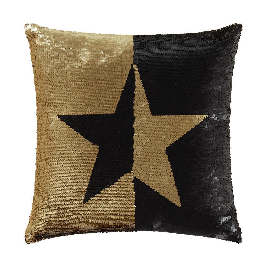 Zierkissen Pailette Star in Schwarz/Gold