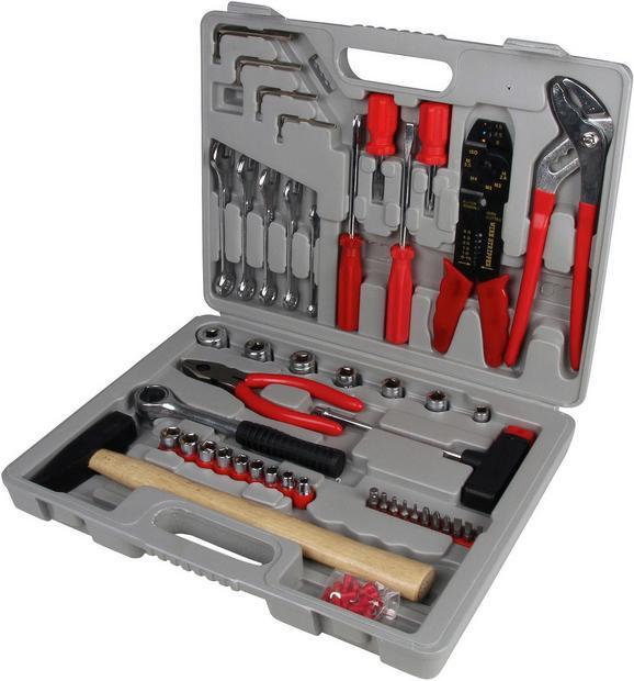 Werkzeugkoffer Stephan 100-teilig - Anthrazit/Rot, KONVENTIONELL, Holz/Kunststoff