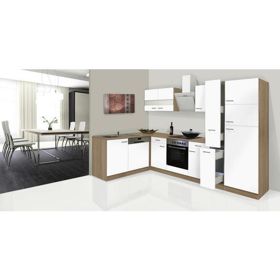 Küchenblock ECONOMY L 310 - Eichefarben/Weiß, KONVENTIONELL, Glas/Holzwerkstoff (172/310cm) - Livetastic
