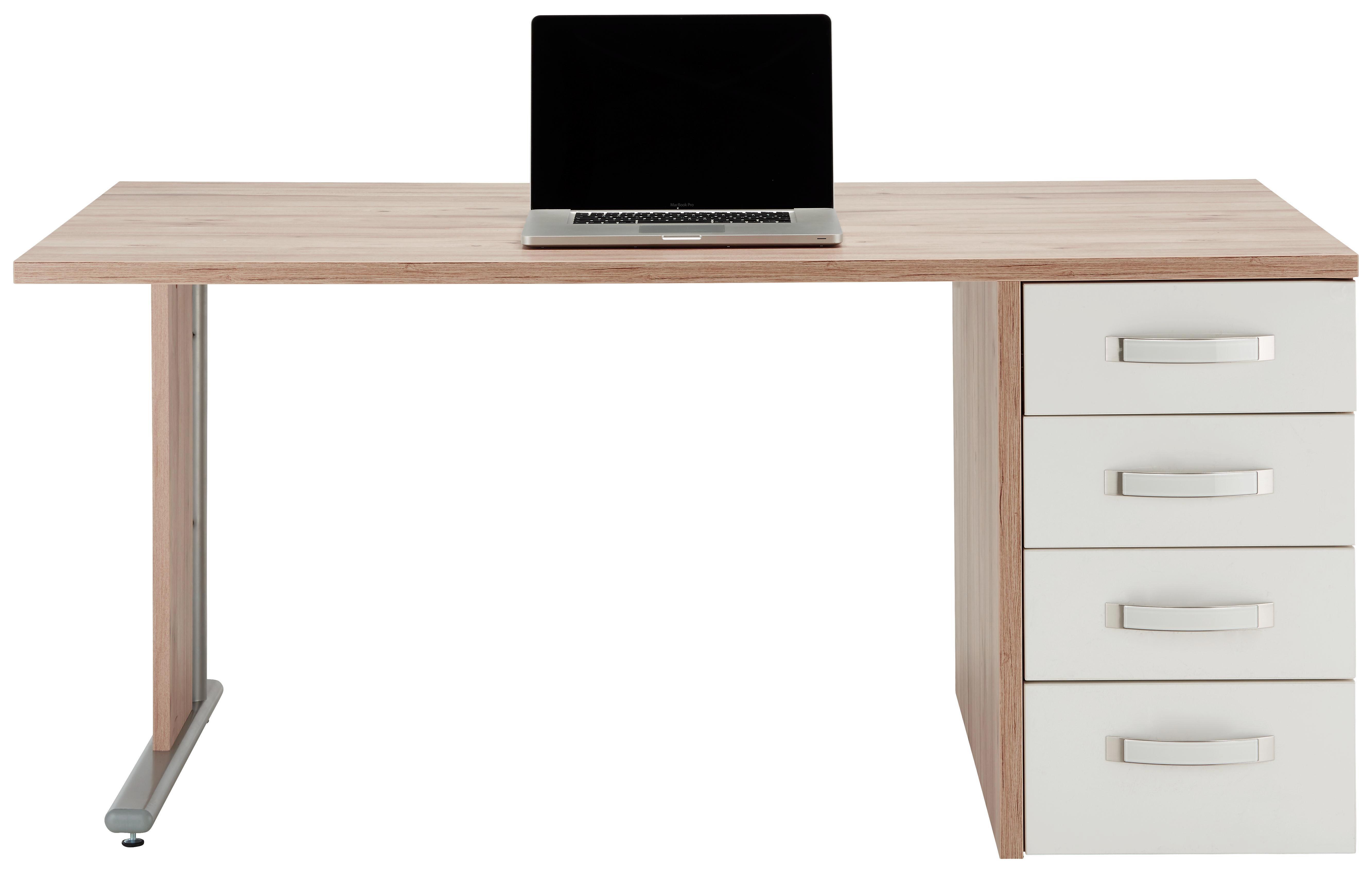 Schreibtisch In Weiß/Eichefarben   Edelstahlfarben/Eichefarben, MODERN,  Glas/Holzwerkstoff (