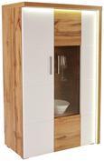 VITRINA ELEGANZA - bijela/boje hrasta, Modern, staklo/drvni materijal (90/136.3/38cm)