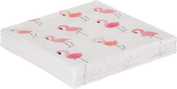 Serviette Pretty Flamingo in Rosa/Weiß - Rosa/Weiß, Papier (33/33cm)
