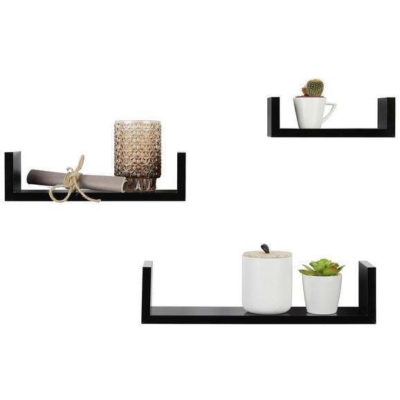 Falipolc Szett U-bord - Fekete, Faalapú anyag (42/32/22/10/10/8,5/7cm) - Modern Living