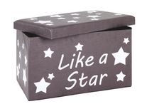 Ülődoboz Like A Star - Szürke/Fehér, modern, Faalapú anyag (65/40/40cm)