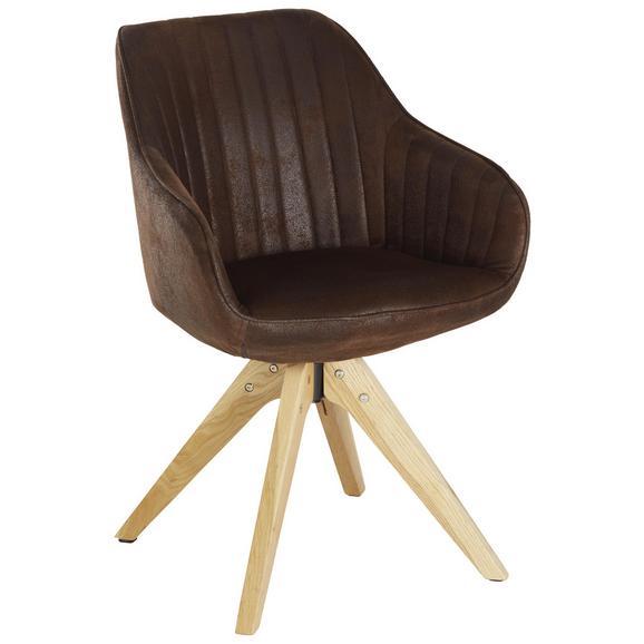 Stol Chill - hrast/temno rjava, tekstil/les (60/83/65cm) - Modern Living