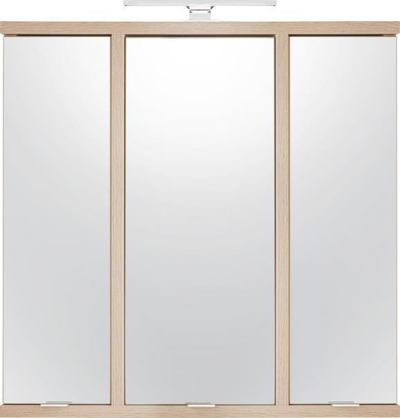 Spiegelschrank in Sonoma Eiche - Champagner/Edelstahlfarben, MODERN, Glas/Holz (90/89.2/22cm) - PREMIUM LIVING