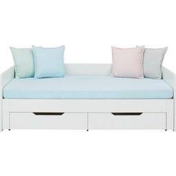 Ausziehbett in Weiß, ca. 90x200cm - Weiß, ROMANTIK / LANDHAUS, Holzwerkstoff (204/67/98cm) - ZANDIARA