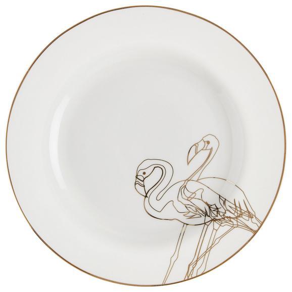 Desertni Krožnik Golden Couple - zlata/bela, Trendi, keramika - Mömax modern living