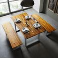 Tisch Mailo aus Akazieholz ca. 160x85 cm - Hellgrau/Akaziefarben, MODERN, Holz/Metall (160/85/75cm) - Modern Living