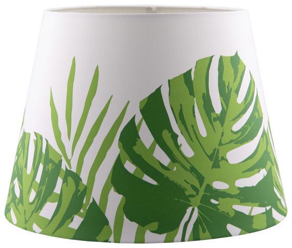 Leuchtenschirm Green Leaf in Weiß/Grün. - Weiß/Grün, LIFESTYLE, Textil/Metall (25-35/25cm) - MÖMAX modern living