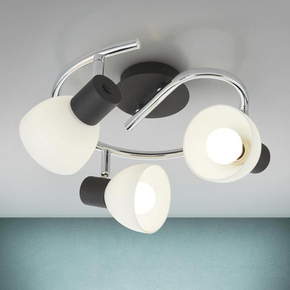 Deckenleuchte Dian - Chromfarben/Schwarz, MODERN, Metall (25/15cm) - Modern Living