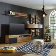 Wohnwand Eichefarben/Schwarz - Chromfarben/Eichefarben, MODERN, Glas/Holzwerkstoff (310/183/46cm) - Modern Living