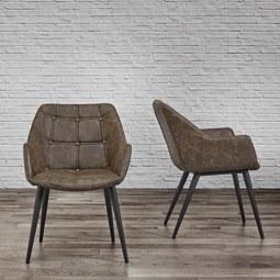 Armlehnstuhl Ares - Schwarz/Braun, MODERN, Textil/Metall (58/81/65,5cm) - Modern Living
