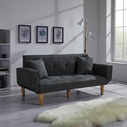 XL Schlafsofa Miriam inkl. Kissen - Dunkelgrau, MODERN, Holz/Textil (176/71/85cm) - MODERN LIVING